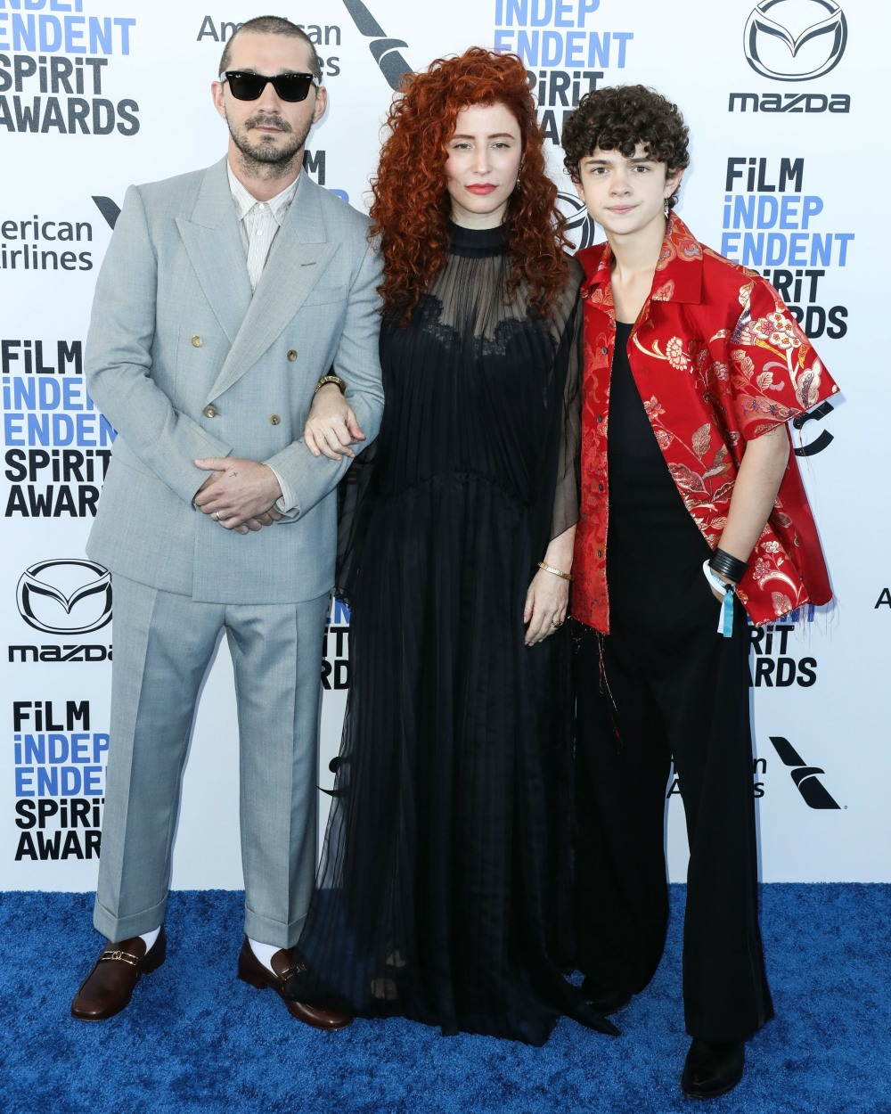 Shia LaBeouf, Alma Har'el and Noah Jupe arrive at the 2020 Film Independent Spirit Awards held at th...