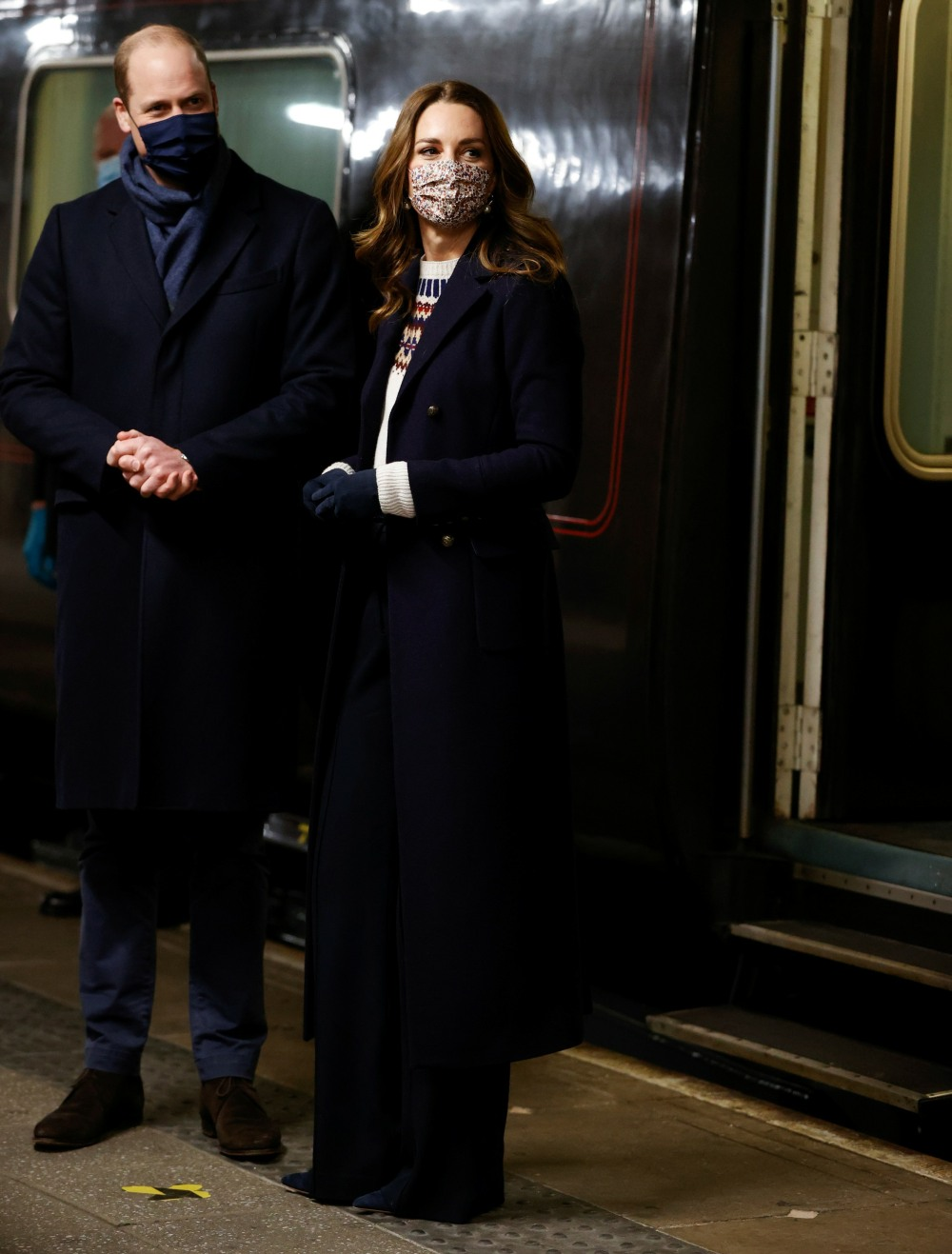 Britain's William and Catherine arrive on the Royal Train in Manchester