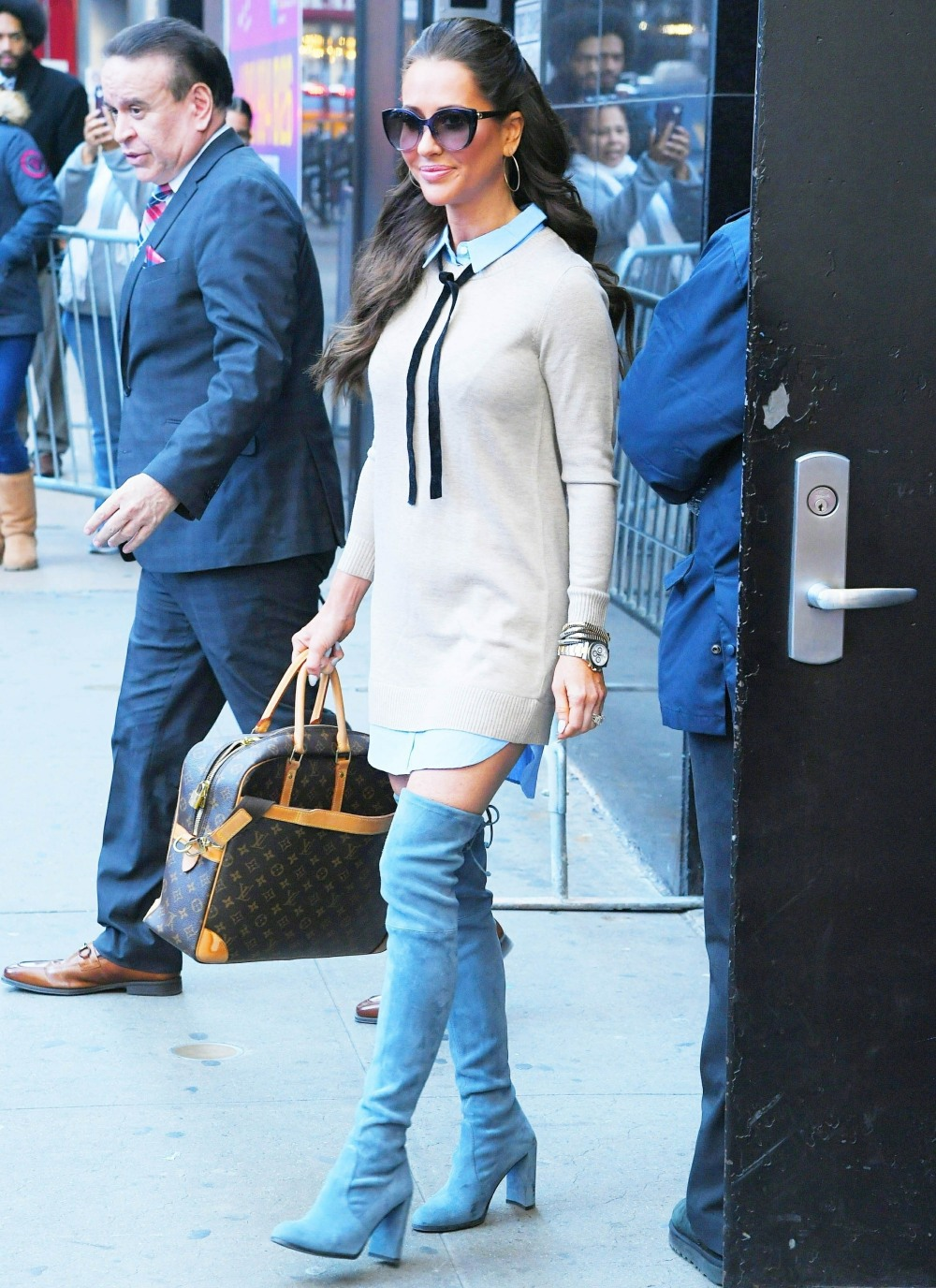 Jessica Mulroney greets her fans while leaving GMA in New York