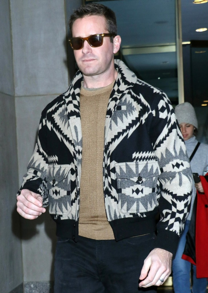 Armie Hammer is seen exiting NBC's Today Show