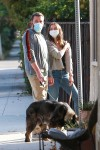 Ben Affleck and Ana De Armas out on their daily walk with the dogs