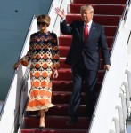 President Donald Trump and Melania Trump arrive on Airforce One at Palm Beach International Airport