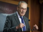 Senate Minority Leader Chuck Schumer, D-NY, holds a press conference at the US Capitol.