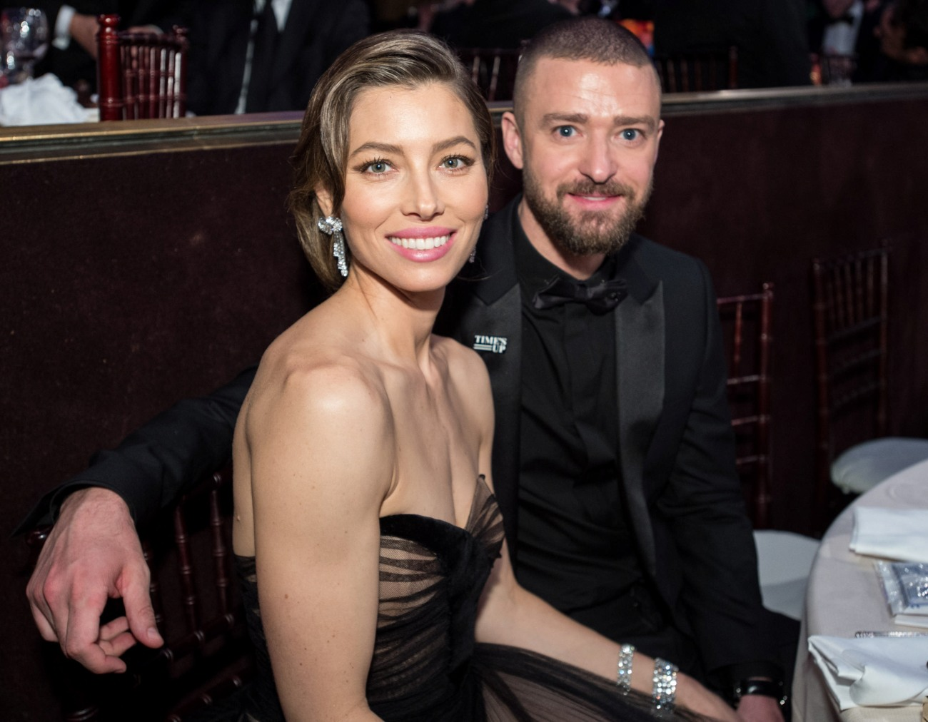 """Nominated for BEST PERFORMANCE BY AN ACTRESS IN A LIMITED SERIES OR A MOTION PICTURE MADE FOR TELEVISION for her role in """"The Sinner,"""" actress Jessica Biel and husband Justin Timberlake attend the 75th Annual Golden Globes Awards at the Beverly Hilton in Beverly Hills, CA on Sunday, January 7, 2018."""