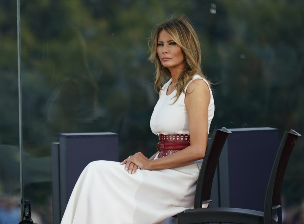 President Donald Trump and First lady Melania Trump participate in the 2020 Salute to America