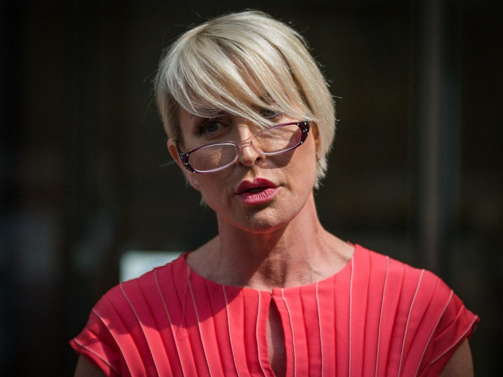 Heather Mills at the High Court following phone-hacking action against News Group Newspapers.