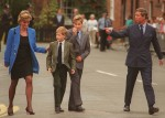 From Left to Right:- HRH PRINCESS OF WALES (HRH Princess Diana): HRH PRINCE HARRY: HRH PRINCE WILLIAM: HRH PRINCE OF WALES (HRH Prince Charles). (Seen on Prince William's first day at Eton College) COMPULSORY CREDIT: UPPA/Photoshot Photo URK 010