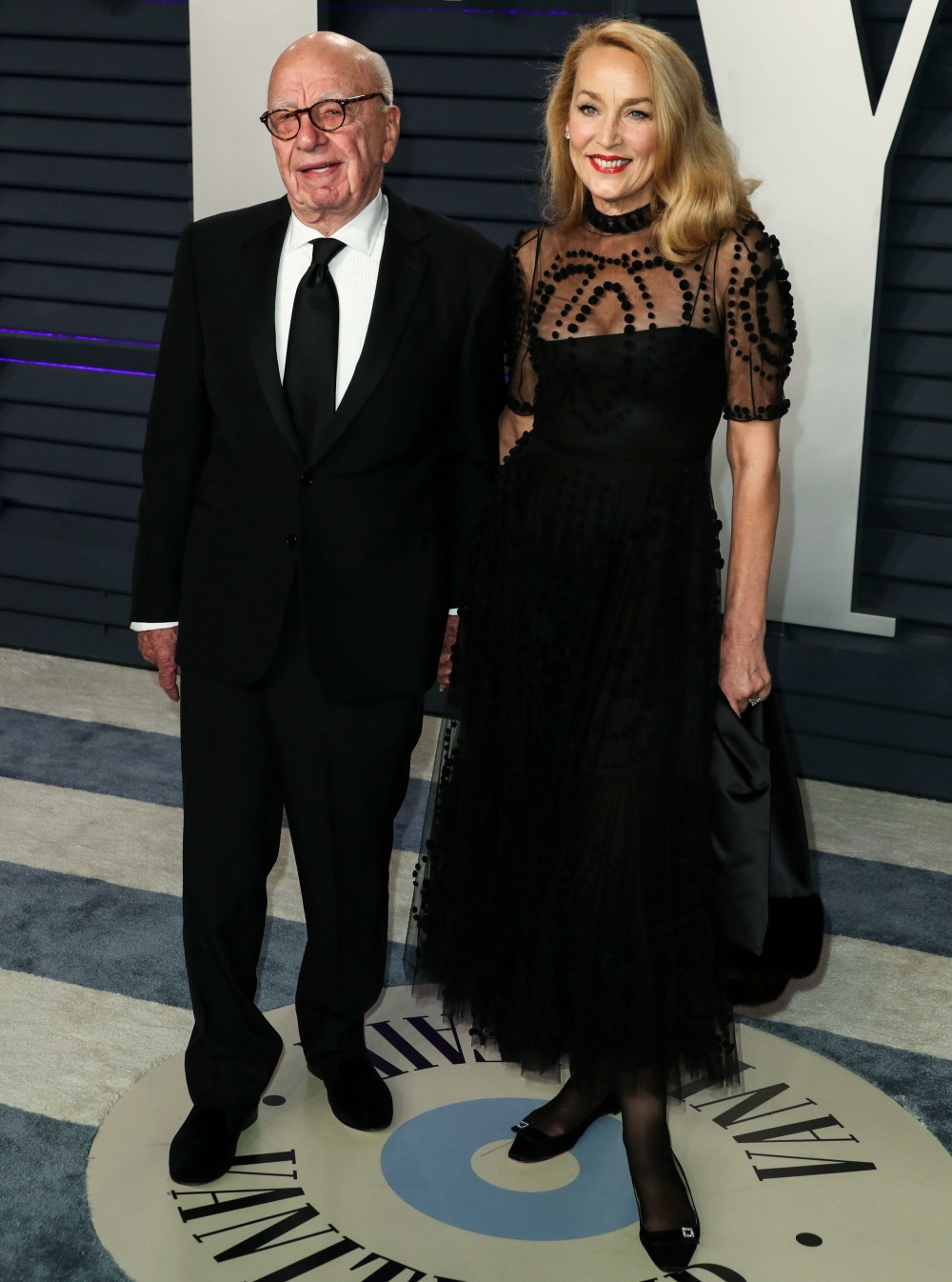 Rupert Murdoch and wife Jerry Hall arrive at the 2019 Vanity Fair Oscar Party held at the Wallis Annenberg Center for the Performing Arts on February 24, 2019 in Beverly Hills, Los Angeles, California, United States. (Photo by Xavier Collin/Image Press Ag