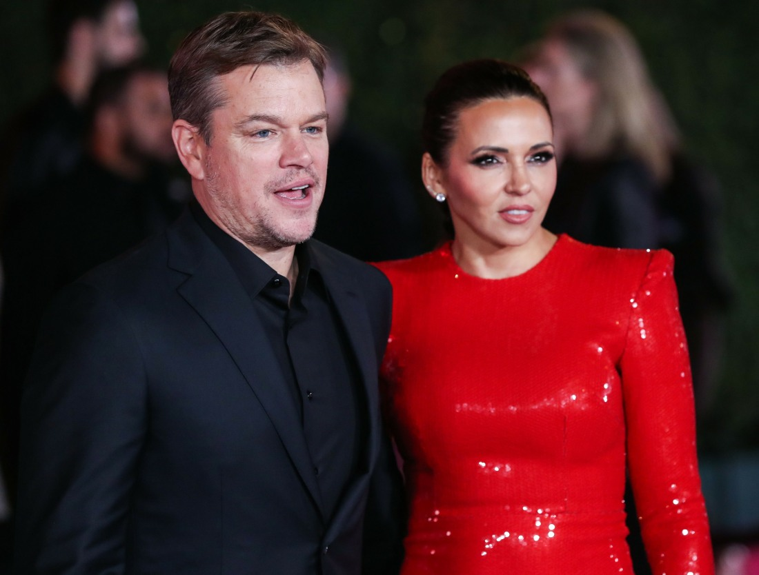 Actor Matt Damon and wife Luciana Damon arrive at the Los Angeles Premiere Of 20th Century Fox's 'Ford v Ferrari' held at the TCL Chinese Theatre IMAX on November 4, 2019 in Hollywood, Los Angeles, California, United States.