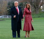 United States President Donald J. Trump and First lady Melania Trump depart the White House