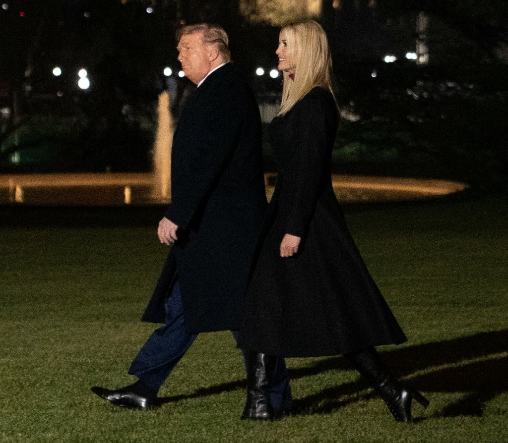 U.S. President Donald Trump and his daughter, White House advisor Ivanka Trump, depart the White House en route to Dalton, Georgia, in Washington