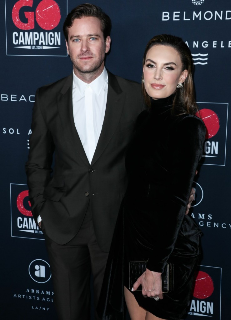 Actor Armie Hammer and wife Elizabeth Chambers arrive at the 13th Annual GO Campaign Gala 2019 held at NeueHouse Hollywood on November 16, 2019 in Hollywood, Los Angeles, California, United States.