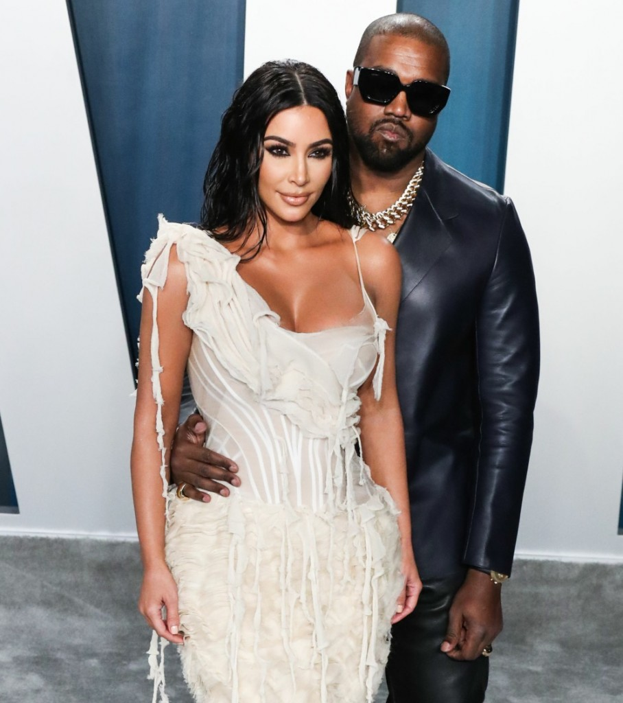 Kim Kardashian West and Kanye West arrive at the 2020 Vanity Fair Oscar Party held at the Wallis Ann...
