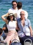 Amazon's CEO Jeff Bezos and his Girlfriend Lauren Sanchez enjoy a boat ride with Scooter Braun & David Geffen
