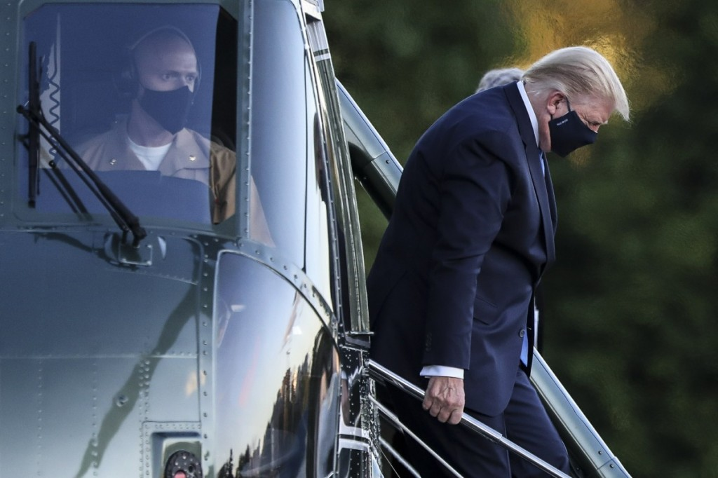 President Trump arrives to Walter Reed National Military Medical Center in Bethesda after testing positive for coronavirus