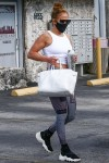 Jennifer Lopez shows off toned arms as she wraps up at the gym in Miami