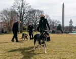President Joe Biden with his dogs Major and Champ in the Rose Garden