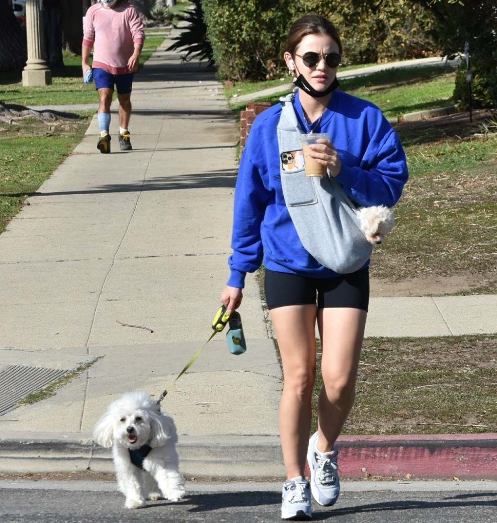 Lucy Hale goes on a walk with her two dogs for an iced coffee