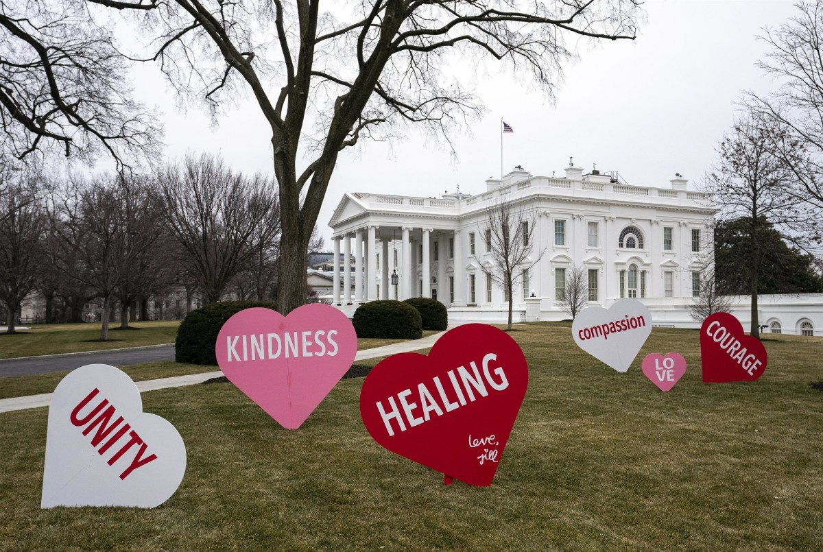 The White House is decorated for Valentine's Day