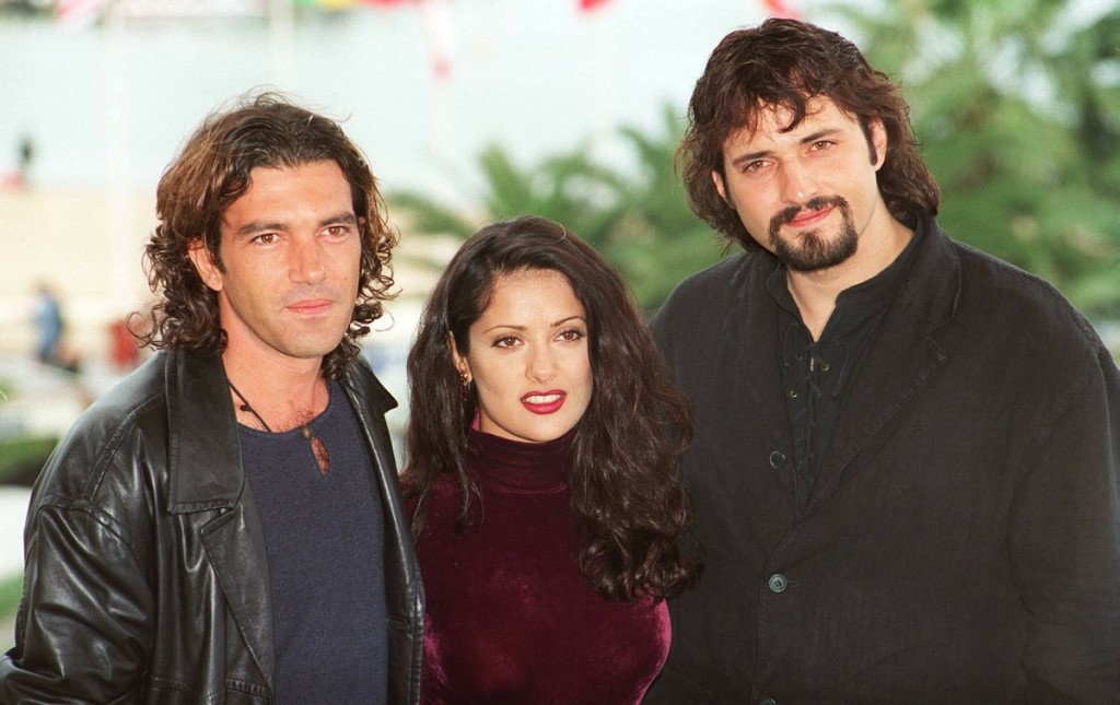 From Left to Right:-ANTONIO BANDERAS. Actor.SALMA HAYEK. Actress.ROBERT RODRIGUEZ. Director.(Seen at the Cannes Film Festival)COMPULSORY CREDIT: UPPA/PhotoshotPhoto UGL 009576/F-08a  22.05.1995