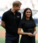 Britain's Prince Harry and Meghan, Duchess of Sussex attend the Boston Red Sox v New York Yankees match in London
