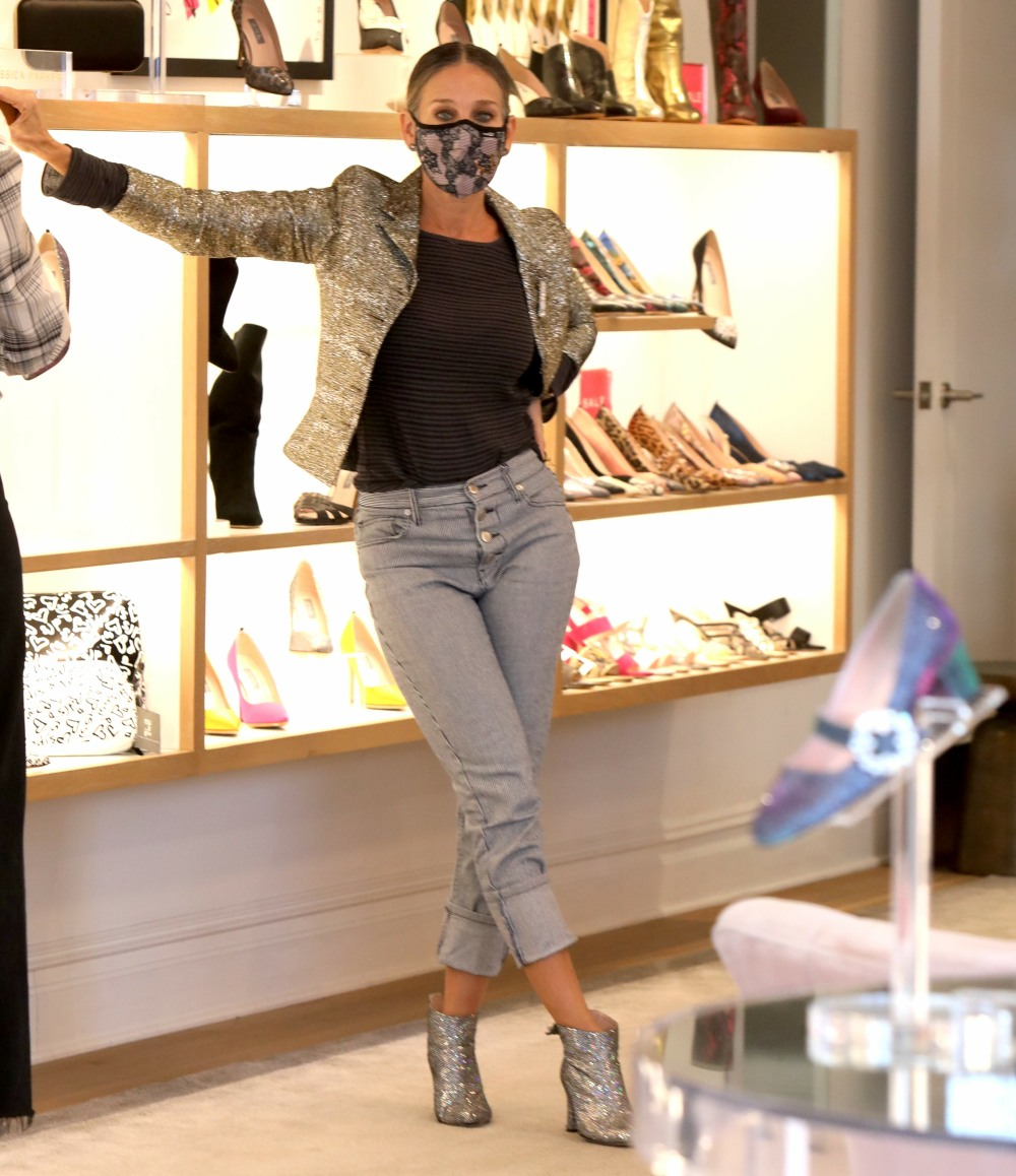 "Sarah Jessica Parker attends to costumers at the ""SJP By Sarah Jessica Parker"" store at the Seaport District, Manhattan"