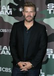Actor David Boreanaz arrives at the Los Angeles Premiere Of CBS Television Studios' 'SEAL Team' held...