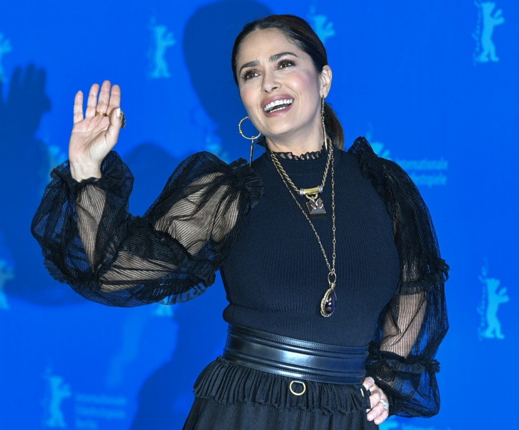 """26 February 2020, Berlin: 70th Berlinale, Photocall, Competition, """"The Roads Not Taken"""": Salma Hayek..."""