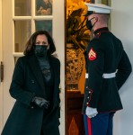 Vice President Kamala Harris walks out of the West Wing