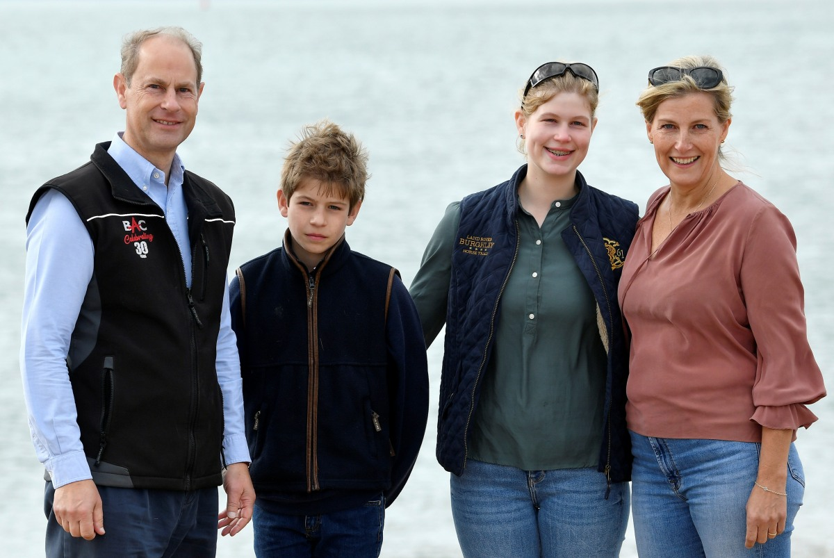 Britain's Prince Edward and Sophie, Countess of Wessex, take part in the Great British Beach Clean in Southsea