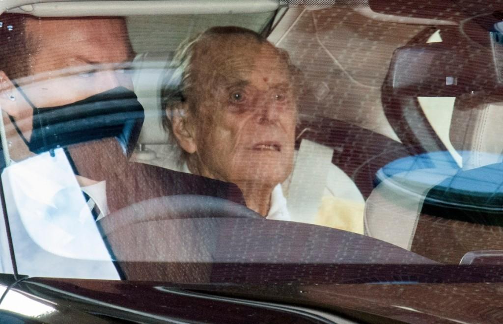 British Royal Prince Philip, the Duke of Edinburgh leaves the King Edward VII Hospital in London.