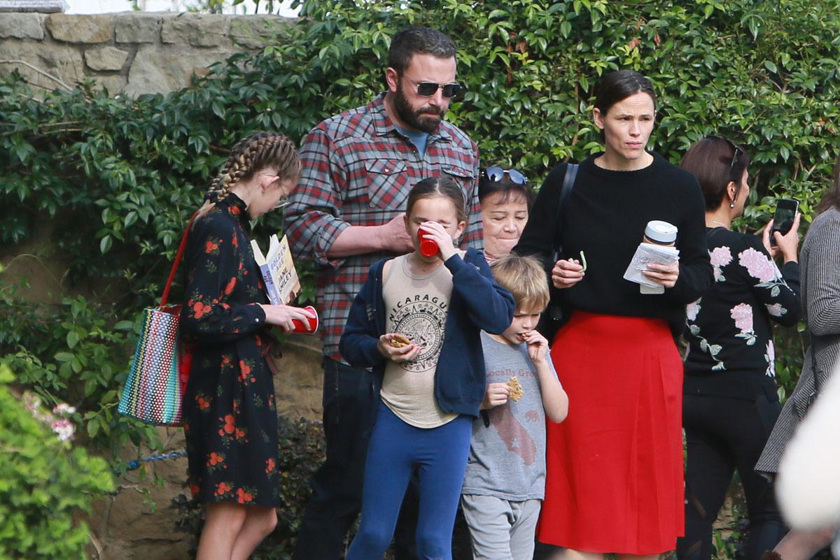 Jennifer Garner and Ben Affleck attend Sunday service together with their three children in 2018