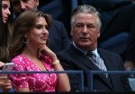 Alec Baldwin and Hilaria Baldwin at the Women's Singles first round match between Maria Sharapova and Serena Williams during day one of the 2019 US Open