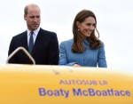 The Duke and Duchess of Cambridge attend the naming of the RRS Sir David Attenborough at Camel Laird shipyard, Birkenhead.  They are standing on the helideck in front of the unmanned submarine Boaty McBoatface.