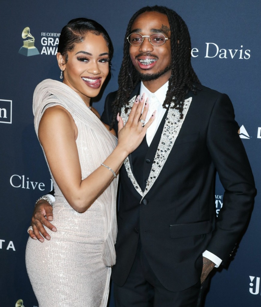 Saweetie and Quavo arrive at The Recording Academy And Clive Davis' 2020 Pre-GRAMMY Gala held at The Beverly Hilton Hotel on January 25, 2020 in Beverly Hills, Los Angeles, California, United States.