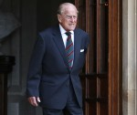 Britain's Prince Philip (R), Duke of Edinburgh arrives for the transfer of the Colonel-in-Chief of The Rifles ceremony at Windsor castle in Windsor on July 22, 2020. - Britain's Prince Philip, Duke of Edinburgh will step down from his role as Colonel-in-C