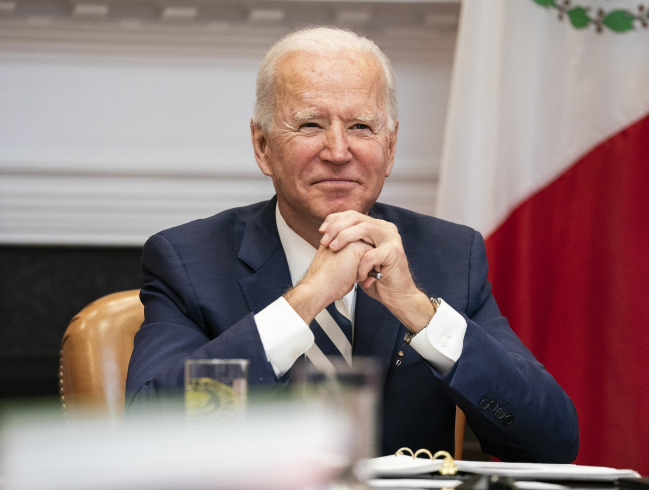 Biden Attends a Virtual Bilateral Meeting with President Obrador of Mexico