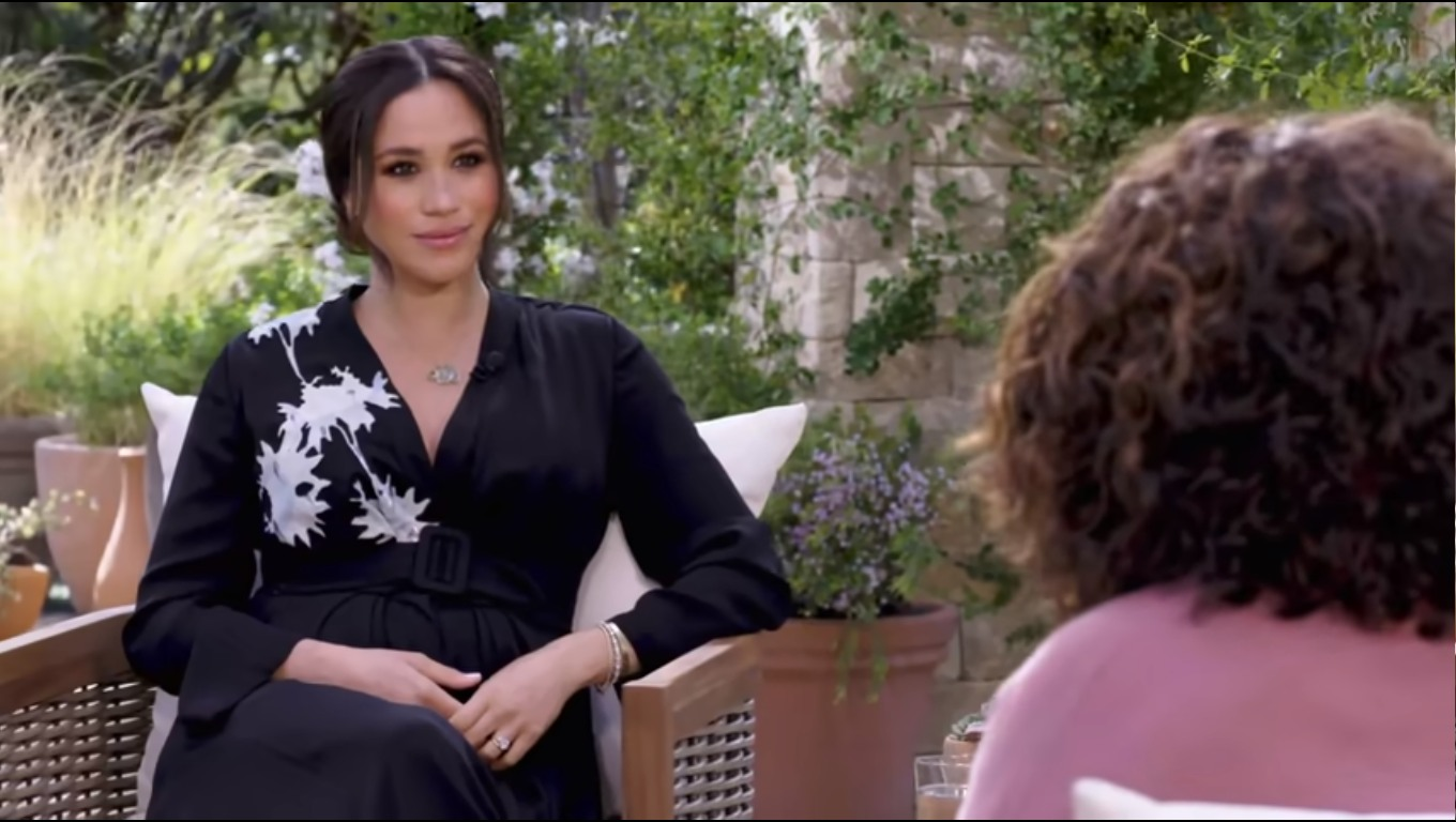 Duchess Meghan wore a $4700 Armani gown & Diana's bracelet for the Oprah interview