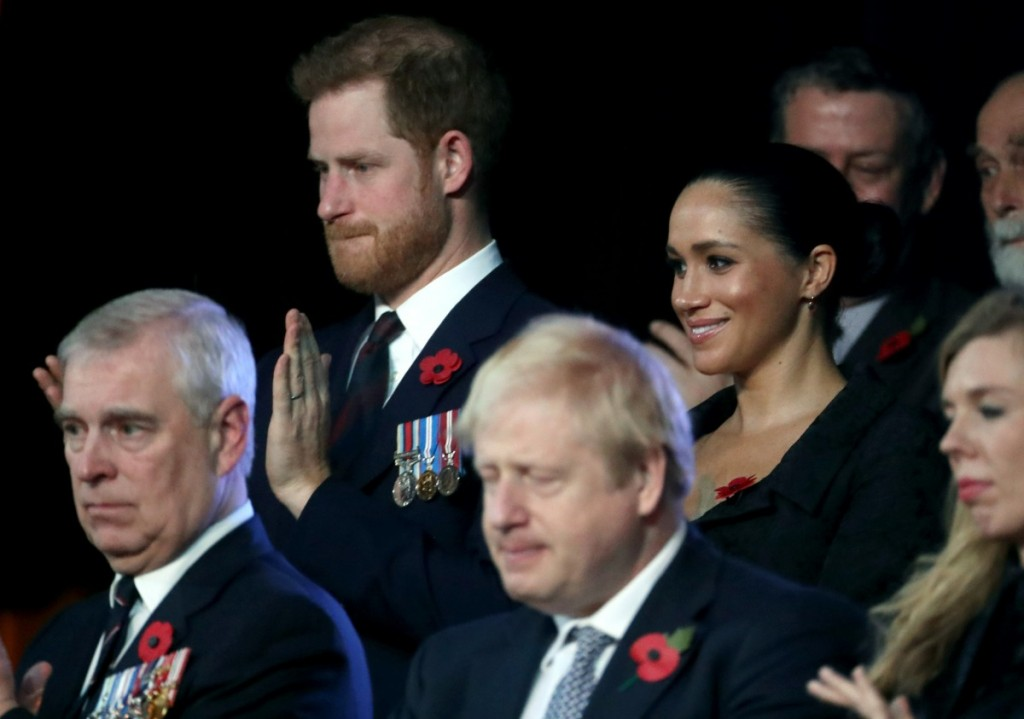 (L-R) Prince Harry, Duke of Sussex, Meghan, Duchess of Sussex, Prime Minister, Boris Johnson and Carrie Symonds attend the annual Royal British Legion Festival of Remembrance at the Royal Albert Hall on November 09, 2019 in London, England.