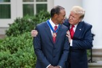 President Donald J. Trump presents the Presidential Medal of Freedom to golfer Tiger Woods