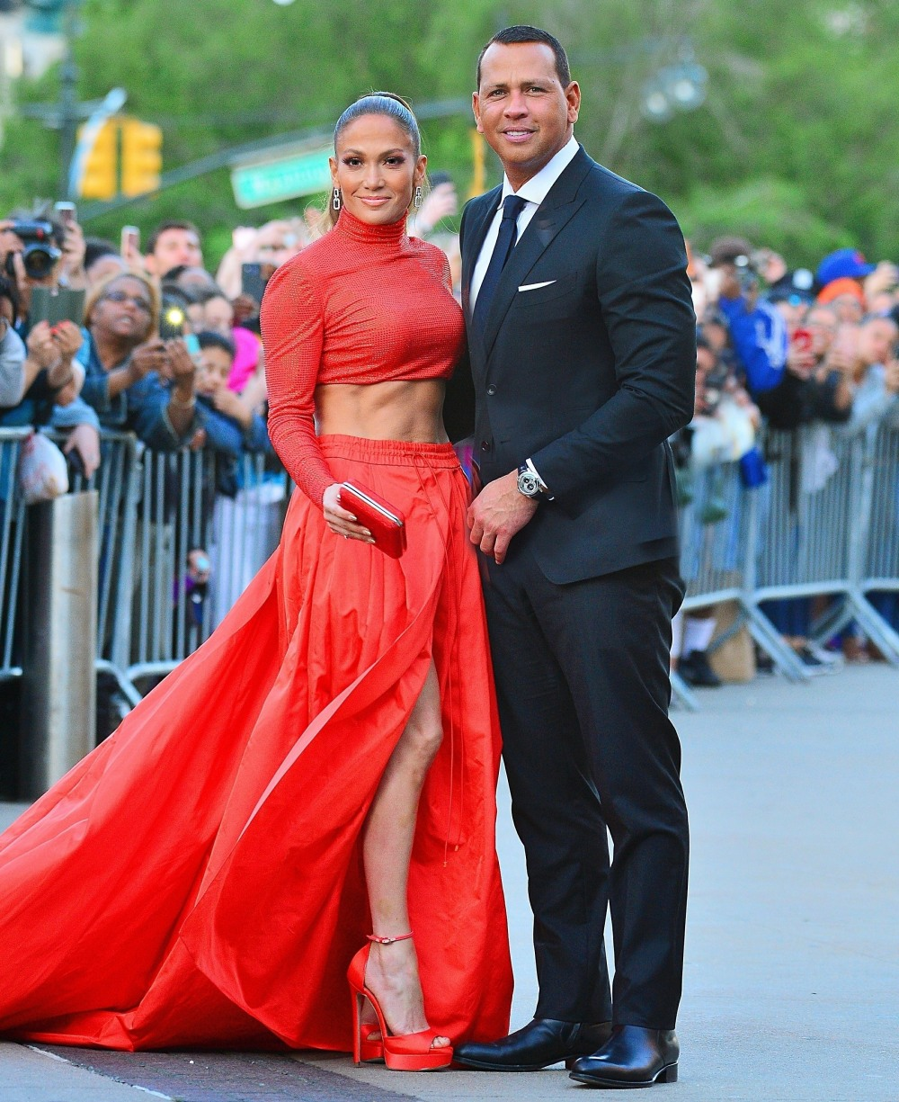 Jennifer Lopez and Alex Rodriguez are all smiles as they arrive to the 2019 CFDA Awards in NYC