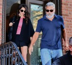 Amal Clooney and George Clooney are all smiles as they step out during their anniversary in NYC
