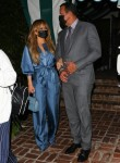 Jennifer Lopez and Alex Rodriguez finish a romantic dinner date at San Vicente Bungalows