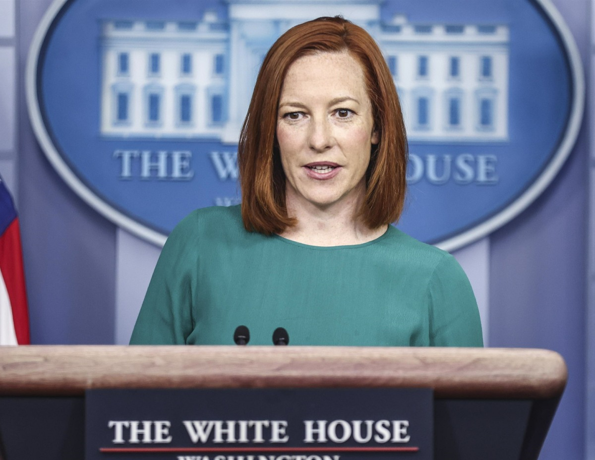 Press Secretary Jen Psaki talks to reporters during Daily Briefing
