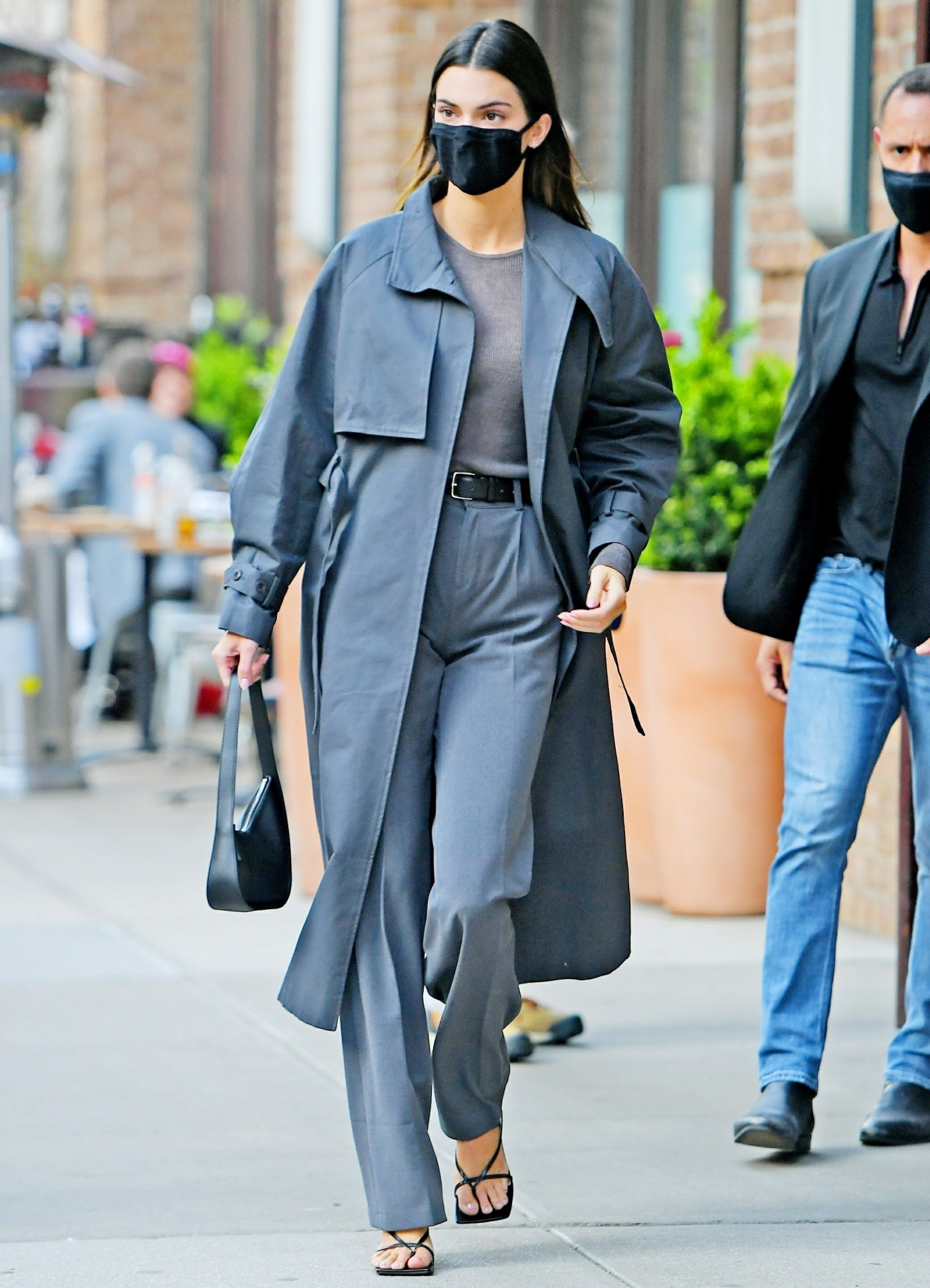 Kendall Jenner dons an all-grey ensemble heading to dinner in NYC
