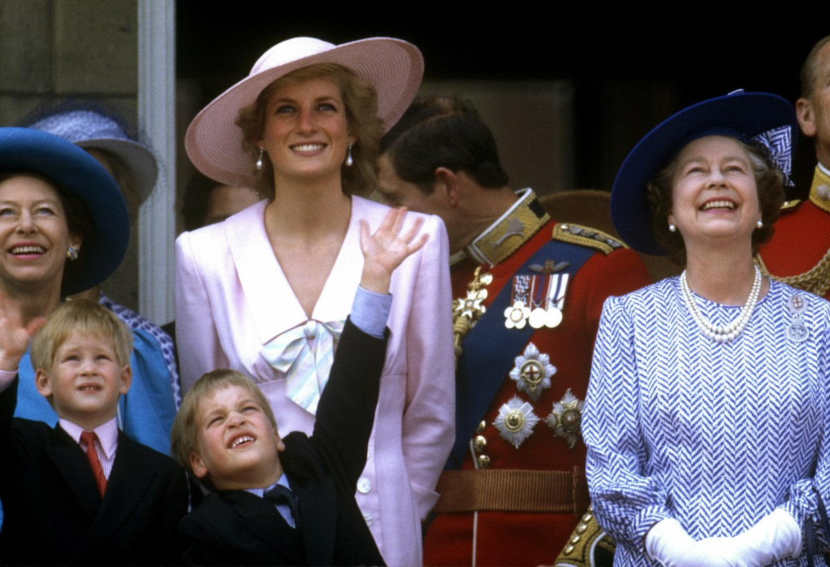 Diana, Princess of Wales Prince WilliamPrince Harry Queen Elizabeth IIPrincess MargaretPrince Charles, Prince of WalesTrooping the Colour