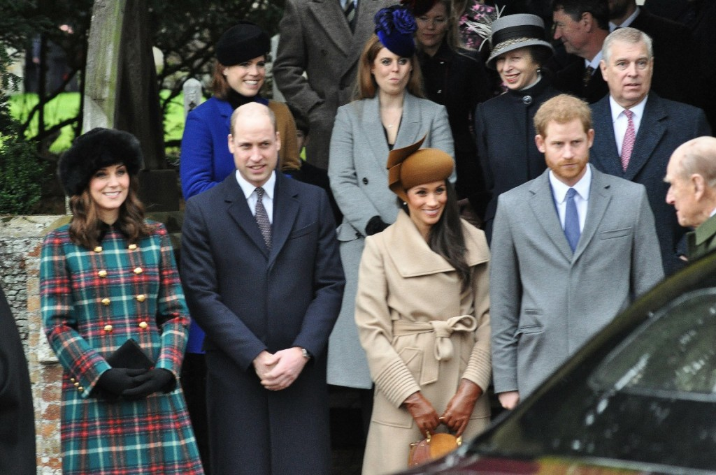 Royals leaving Sandringham Church after the Christmas Day service- l to r top: Princess Eugenie, Princess Beatrice, Princess Anne, Prince Andrew, front  Duchess of Cambridge, Prince William,  Meghan Markle, Prince Harry and prince Phillip.