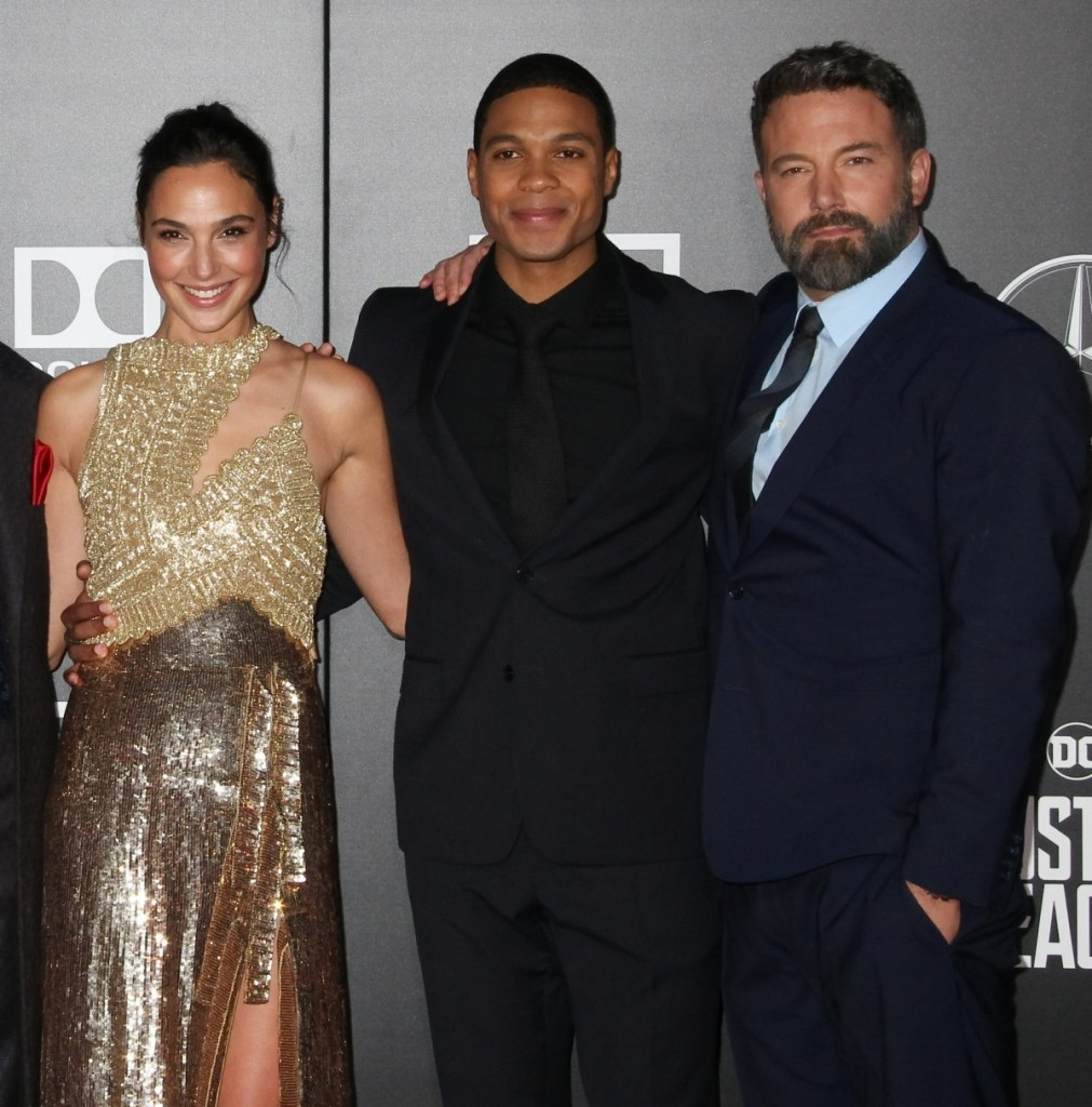 """Jason Momoa, Henry Cavill, Ezra Miller, Gal Gadot, Ray Fisher, Ben Affleck 11/13/2017 The World Premiere of """"Justice League"""" held at The Dolby Theater in Hollywood, CA"""