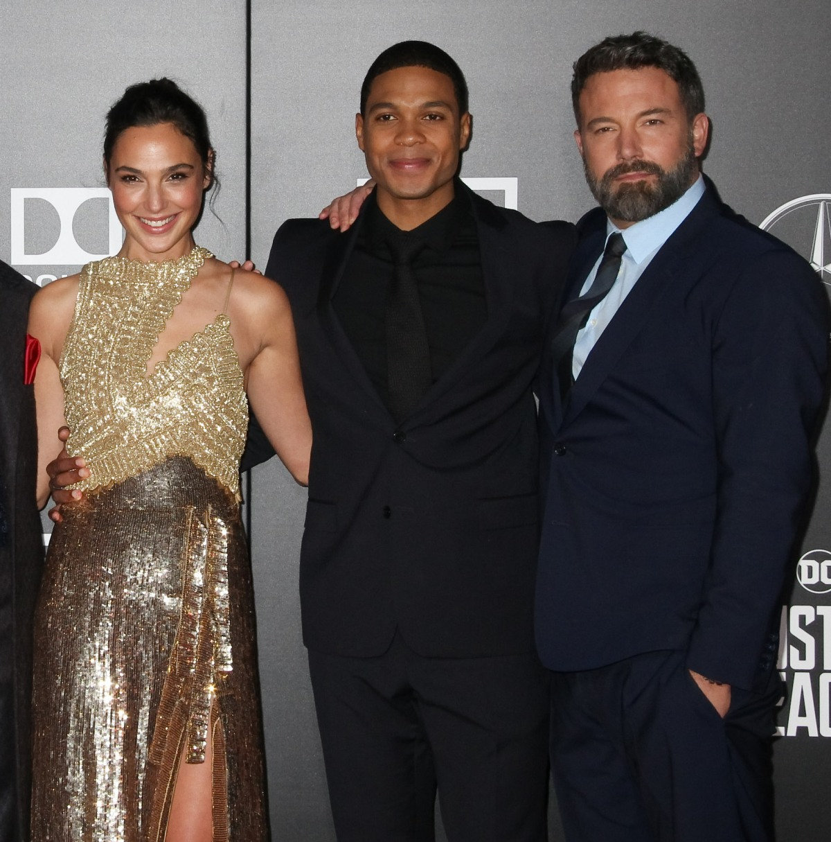 "Jason Momoa, Henry Cavill, Ezra Miller, Gal Gadot, Ray Fisher, Ben Affleck  11/13/2017 The World Premiere of ""Justice League"" held at The Dolby Theater in Hollywood, CA"