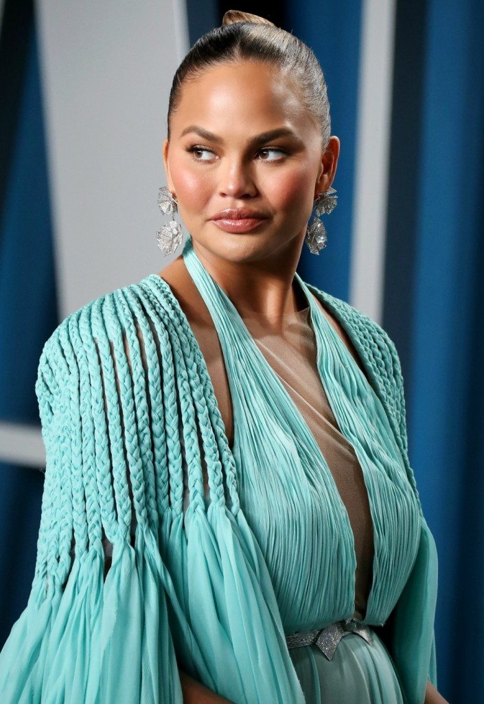 Chrissy Teigen arrives at the 2020 Vanity Fair Oscar Party held at the Wallis Annenberg Center for t...